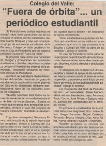 """Nota publicada en La Estrella del Sur sobre el periódico """"Fuera de Órbita"""" que se generaba a partir del club de periodismo."""